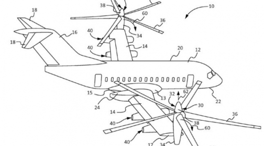Boeing has patented a tilt-rotor, vertical take-off aircraft concept that could be used for carrying passengers. (Boeing)